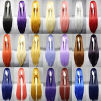 Wholesale color multi color cm long straight hair Cosplay Costume Wig