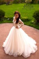 arabic wedding dress designers - Vintage Long Sleeves Arabic wedding dress See Through Deep V neck lace Illusion Designer Cheap New Wedding Dress Gown Custom Plus size