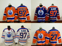 Wholesale Edmonton Oilers Connor McDavid Orange Blue White With C Patch Jersey Authentic Hockey Stitched Jersey