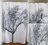 Wholesale Black Scenery Tree Design Bathroom Waterproof New Arrive Retro Minimalist Black White colors shower Curtains Fabric Shower Curtain