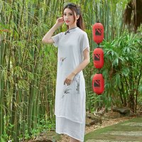 Wholesale Summer new Chinese ink printing long dress robes plate buckles cotton and linen qipao dress with short sleeves