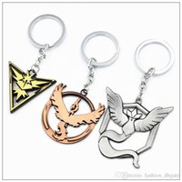 Wholesale Poke Go Team Valor Instinct Mystic Zinc Alloy Keychain Children Zinic Alloy Poke Ball Car Keyring Styles For Choice