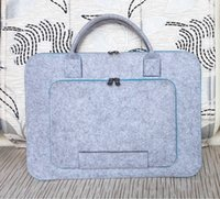 Wholesale Wool Felt Hand Hold Inner Notebook Laptop Sleeve Bag Case Carrying Handle Bag added your unique logo felt business handbag for laptop