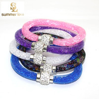 alloy crystal bracelet - 2016 Newest Stardust Mesh Bracelets With Crystal Stones Filled Magnetic Clasp Charm Bracelets Bangles Gift Jewelry For Women Girl