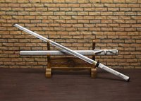 Wholesale Top Handmade Japanese Samurai Katana Sword Sharp Damascus Steel Blade White Spun Gold Sheath