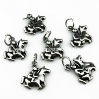 animal horse games - 20486 Antique Pewter Stainless Steel Games Hero Ride Animal Horse knight Pendant