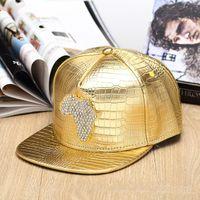 baseball africa - gold Rhinestone Crocodile Africa Map logo Baseball Caps Street DJ PU Leather hip hop rap Hats for men women gift