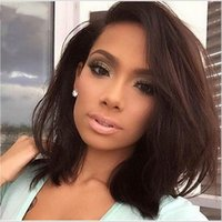 Wholesale Glueless Full Lace Human Hair Bob Wigs For Black Women Unprocessed Peruvian Straight Hair Lace Front Wigs Short Bob Cut Wigs Side Parting