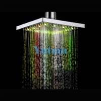 Wholesale ree Shipping Color Changing Rainfall LED Shower Head Lighting Bathroom Shower square Shower head Bathroom Product Chuveiro Cheap produ