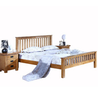 Wholesale HUAYI Full Solid Wood Furniture Oak Bed American Minimalist M M M Double bed Bedroom Furniture