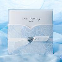 Wholesale Elegant Blue Roses Pocket Wedding Invitation Set of