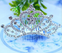 Wholesale Diamond Princess Crown Comb Crystal Rhinestone Tiaras Crown Clip The Hair Accessories Hairpin For Bridal Girls