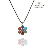 amulet jewellery - TRENDYOU Chakra Natural Stones Reiki Healing Charm Jewelry Flower of Life Pendant Necklace Yoga Jewellery Pendants Amulet QCS16610