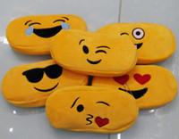 Wholesale Children Pencil bags New QQ expression emoji yellow plush Zipper Pencils Box Stationery Bag Storage Pencil Cases School Supplies