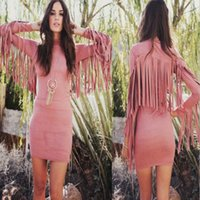 Wholesale Cheap large size women dress and long sleeved dress code and tassel A word bag hip skirt