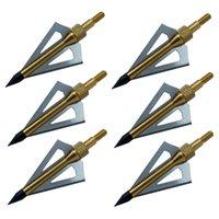 Wholesale 6PCS Grain Broadheads Archery Arrowhead Crossbow Arrow Heads Blade Yellow Points Tips