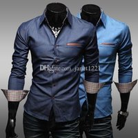 Wholesale Jeans Autumn Shirts Long Sleeve Plaid Printing Personalize Turn over Neck Men Causal Shirts Blue Solid Color Slim Shirts For Men J160635