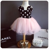 baby cotton bud - 2016 New Fashion kids girls dresses Lovely Color Dot Mickey Mouse Minnie Dress Baby Clothes Kids Clothing Pink Red Girl s Casual Party Dress