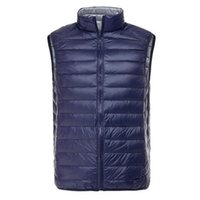 Wholesale Fall Men s Ultra Light Down Double Sided Zipper Puff Gilet Vests Jackets Waistcoat Winter Jackets Colors