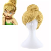 bell wig - Anime Tinker Bell wig synthetic straight short hair wig yellow cosplay wigs Ball head mix length