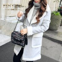 angora jacket - 2016 Winter Long Parkas angora coat Women cotton Jackets Casual Solid Fleece Patchwork warm Overcoat Korean styles Blends FS0867