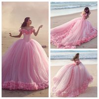 big girls formal dresses - 2016 Off Shoulder Pink Quinceanera Dresses Custom Made Handmade Flowers Big Ball Gowns Prom Evening Party Gowns Girls Formal Wear Cheap