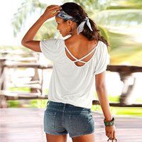 Wholesale Hot Summer Backless Cross With Sexy Round Collar Blouse T shirt Women Tops