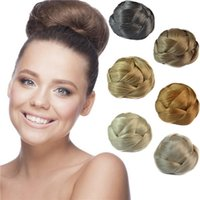 Wholesale Women Wedding Bridal Updo Chignon Bun Double Cossing Straight Synthetic Hair Extensions Pieces Multicolor item per pack