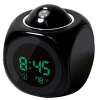 Wholesale Fashion LED Projector round Alarm Clock Digital LCD LED Multifunction Alarm Clock show time and voice IN Home
