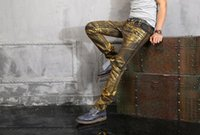 Wholesale Mens Balmain Local tyrants draping gold coating jeans Famous Brand New size