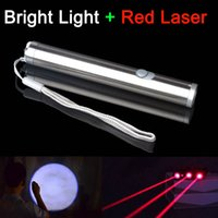 Cheap Waterproof Combo PRO 2IN1 1mw RED LASER POINTER SUPER BRIGHT LED LIGHT MINI LAZER PEN 300LM Free shipping
