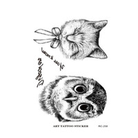 arm pattern - Owl Tattoo Disposable d Waterproof Body Art Arm Hand Cat temporary Tatoo Stickers Paste Pattern
