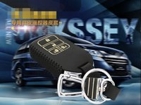 Wholesale Brand New High quality Genuine Leather Remote Control Car Key Case wallet Bag Cover For Honda Odyssey