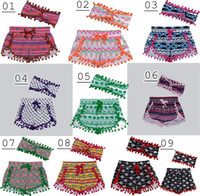 no brand 0-4T S/6M 2016 ins girls chevron shorts baby bloomers + headbands 2pc set childrens ruffled shorts kids cotton underwear girls boutique short pants