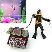 Wholesale Aquarium decoration Hunter Treasure Figure Action Fish Diver Tank Ornament Aquarium Decor Landscape