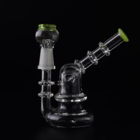 bamboo shaping - 3 quot Mini Glass Bubbler Bamboo Shape Mouthpiece Inline Percolator Water Pipe Oil Rig Pipe mm Joint Pocker Small Bong With Dome Nail