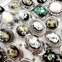 Wholesale 10Pcs Adjustable Nature Cameo Shell Rings for Women Fashion Jewelry Ring LR437