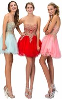 Other Tea-Length Reference Images Tulle Short Crystals Prom Dresses Sweetheart Gold Lace with Aqua Red Pink Corset Cheap Graduation Party Gowns 2016 2017 Rhinestones Dubai
