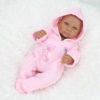 african toy - 10 inches African Black Reborn baby dolls Full Silicone Body Reborn Babies Ethnic Alive Dolls