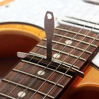 bass guitar saddle - 9pcs Guitar Bass Understring Radius Gauge Luthier Stainles Steel Tool Set Bridge Saddle Adjustment with Pin Puller