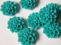 Wholesale 20pcs Turquoise Resin Chrysanthemum Mum Flower Resin Cabochon for Bobby Pins or Rings mm