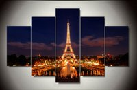 Wholesale 5Panels Modern Wall Painting Famous Building Home Decorative Living Room Art Picture Oil Painting On Canvas Eiffel Tower F