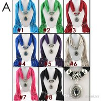 Wholesale Pendant scarf jewelry with beads Mixed Design colorful scarves charms cross necklace