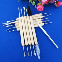 Cheap 30 Sets Lot DIY Pottery Clay Wax Sculpture Carving Tools Handle Wood Art Craft Carvers Polymer Sculpting Kit ( 11 Pieces Set)