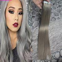 al por mayor la trama gris-7A gris de plata de las extensiones del pelo sin fisuras la cinta de Remy en las extensiones 100g (40pcs) cinta de la PU de la piel de la trama extensiones de cabello Productos para el cabello