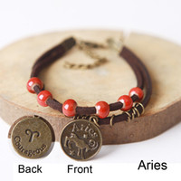 aries birthday gifts - Ceramic Charm Bracelet with Zodiac Aries Pisces Pendant Porcelain Beaded Bangle Constellation Jewelry Creative Birthday Gifts