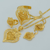 arab set - Heart Jewelry sets Ethiopian Necklaces Earrings Ring Bangle k Gold Plated and Brass Arab Africa Wedding Bride s Dowry