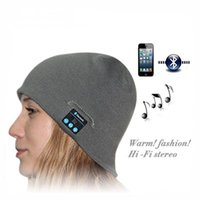 Wholesale Stereo Cell Phone Speaker - Smart Wireless Bluetooth Cap Headphone Headset Speaker Mic Soft Warm Beanie Hats