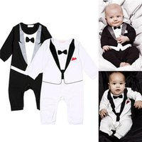 baby tuxedo bodysuit - New Baby Boys Jumpsuit Romper Newborn Kid Bodysuit Formal Tuxedo Suit Infant Outfits