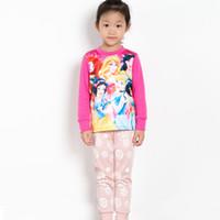 Wholesale Fashion Frozen Pajamas For Girls Baby Children Kids Elsa And Anna Olaf Snowflake Print Cotton Sleepwear Set Cartoon Pajamas Sets sets